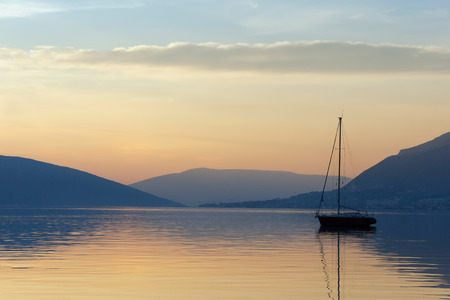afterglow: Afterglow. Montenegro, Bay of Kotor Stock Photo