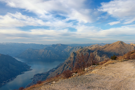 uplands: Mountain road above  Gulf of Kotor. Montenegro Stock Photo