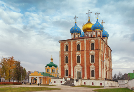assumption: Assumption Cathedral and  church of the Nativity of Christ. Ryazan Historical and Architectural Museum-Reserve.  Ryazan city, Central Russia