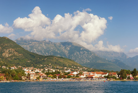 View of Bay of Kotor and  Seljanovo village near Tivat city.  Montenegro