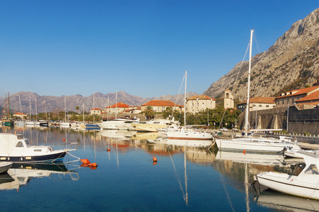 boka: View of Boka Kotorska Bay near Kotor city on a sunny winter day. Montenegro