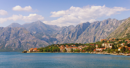 View of Bay of Kotor and  Dobrota village.  Montenegro Stock Photo