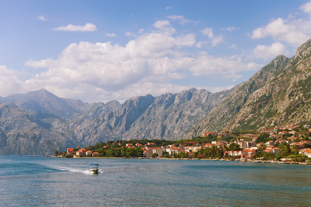Montenegro. View of Bay of Kotor and  seaside Dobrota village on a summer day