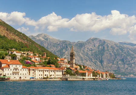 View of  Perast city from the sea. Montenegro
