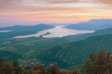Evening over the Bay of Kotor. Montenegro
