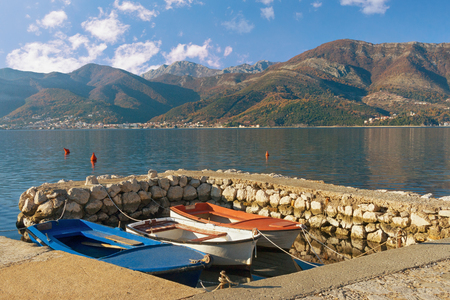 View of Bay of Kotor near Tivat city on a sunny winter day. Montenegro Stock Photo