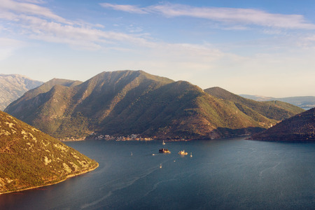 Birds-eye view of the Bay of Kotor before sunset. Montenegro Stock Photo