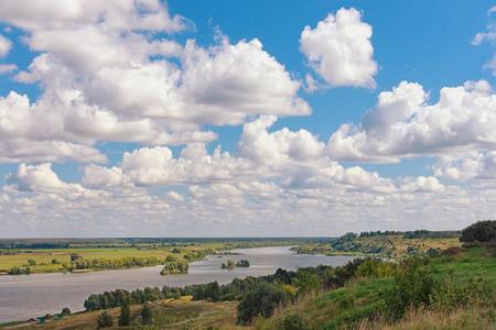 tributary: View of Oka river (Volga tributary) near Konstantinovo village. Central Russia, Ryazan region Stock Photo