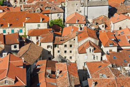 kotor: Red roofs of Old Town of Kotor. Montenegro
