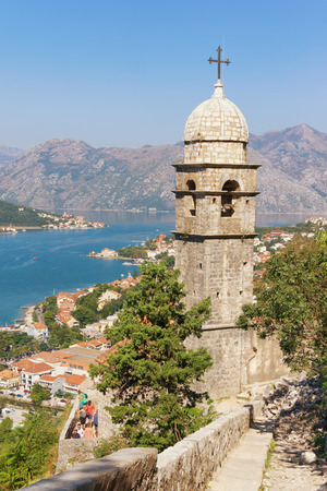 View of Kotor city and Church of Our Lady of Remedy from the road to Kotor fortress. Montenegro