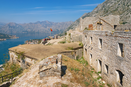 View of fortress of  St. John (San Giovanni) and Bay of Kotor. Kotor, Montenegro Editorial