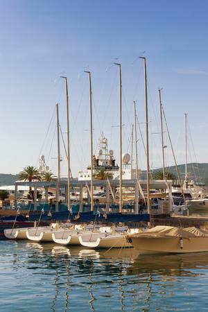 Port in Tivat city in autumn, Montenegro Stock Photo