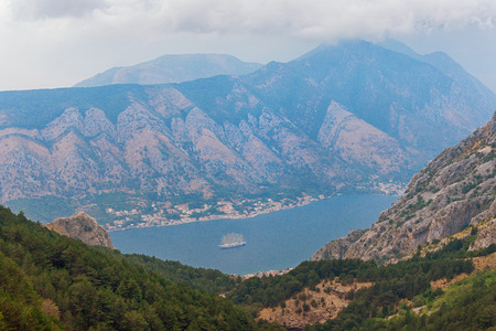 Mountain landscape with mount Vrmac and Bay of Kotor on a foggy day.  Montenegro Reklamní fotografie