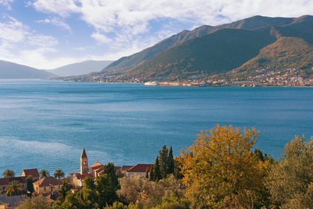 View of Bay of Kotor near Tivat city (Donja Lastva village) on a sunny winter day, Montenegro Stock Photo