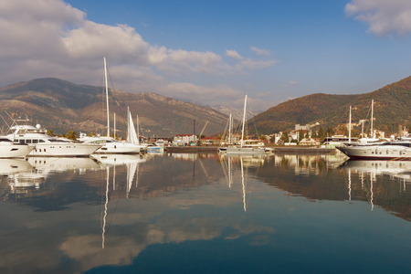 View of the port in Tivat city.  Montenegro Stock Photo