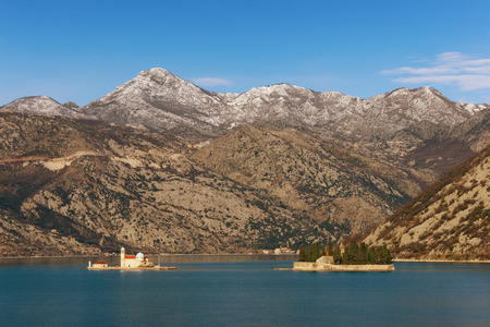 Two islets off the coast of Perast in Bay of Kotor. Montenegro, winter