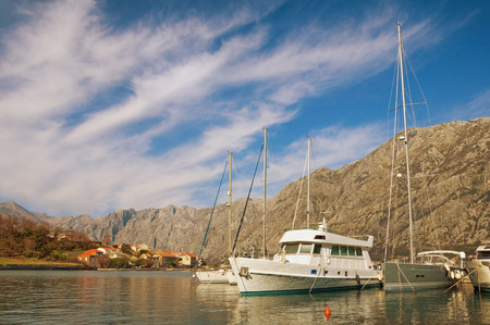 Yachts moored at the Bay of Kotor. Montenegro Stock Photo