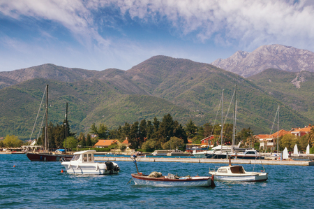 Montenegro, Bay of Kotor. View of Seljanovo village (near Tivat city) from the sea