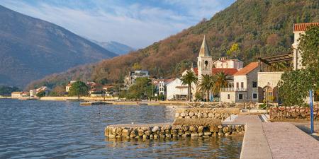 kotor: Mediterranean landscape on a sunny winter day. Donja Lastva village (near Tivat city).  Montenegro
