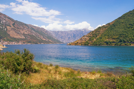 View of the Bay of Kotor -  the winding gulf of the Adriatic Sea - on a summer day. Montenegro. Stock Photo