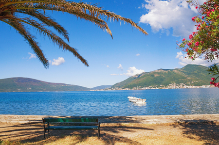 View of Bay of Kotor (Adriatic sea) near Tivat town on a sunny summer day, Montenegro Stock Photo