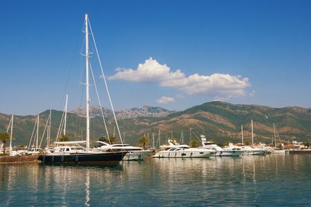 Porto Montenegro - luxury yacht marina in the Adriatic. Bay of Kotor, Tivat, Montenegro Stock Photo