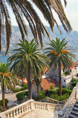 View of seaside Prcanj town from the stairs of the Church of Birth of Our Lady. Bay of Kotor (Adriatic sea),  Montenegro