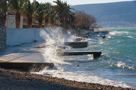 Windy winter day. Bay of Kotor (Adriatic Sea) near Tivat town, Montenegro