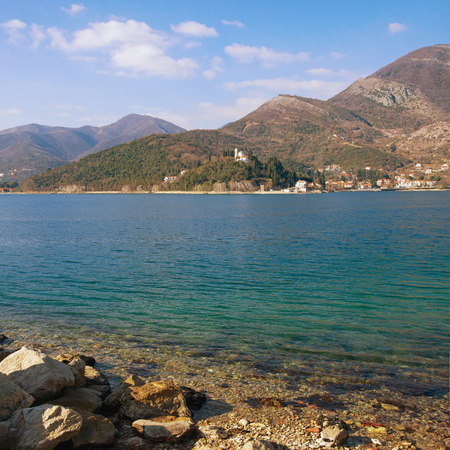 Bay of Kotor (Adriatic Sea) near Verige Strait on a sunny winter day. Montenegro