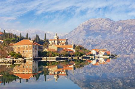 View of seaside town of Prcanj in winter. Bay of Kotor (Adriatic Sea), Montenegro