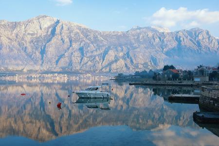 Blue winter morning of a seaside village. Montenegro, Kotor Bay of Adriatic Sea, Stoliv Stock Photo