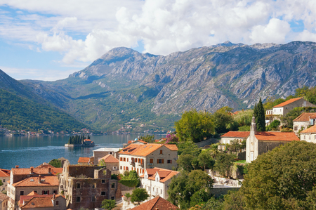 george: View of Perast town, Bay of Kotor and island of St. George.  Montenegro, autumn Stock Photo