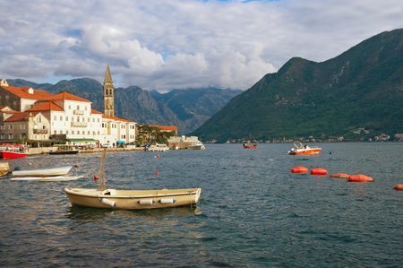View of the old town of Perast with the bell tower of the church of St. Nicholas. Bay of Kotor (Adriatic Sea). Montenegro, autumn