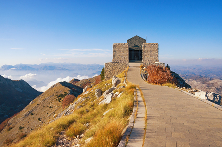 View of Lovcen National Park and building of Njegos Mausoleum. Montenegro