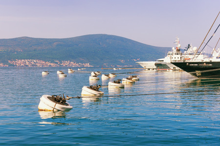 Mooring in the port of Tivat city.  Montenegro