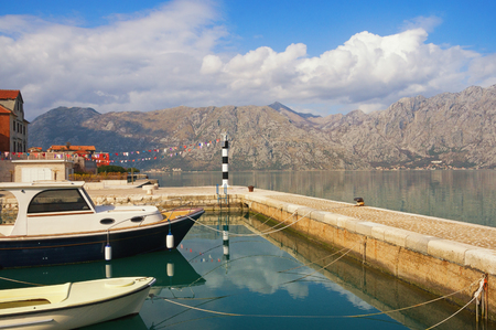 kotor: Bay of Kotor near Prcanj town on a sunny winter day. Montenegro