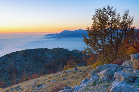 Beautiful mountain landscape at sunset. Montenegro,  Lovcen National Park