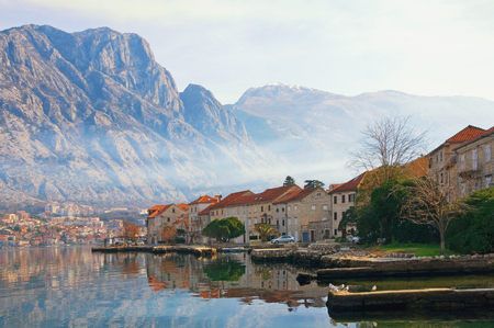Winter Meditarranean landscape .  Montenegro, view Bay of Kotor, Lovcen mountain and Prcanj town 写真素材