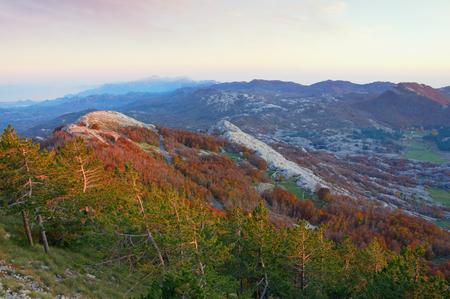 Beautiful mountain landscape. View of Lovcen National Park from Jezerski vrh peak. Montenegro 스톡 콘텐츠