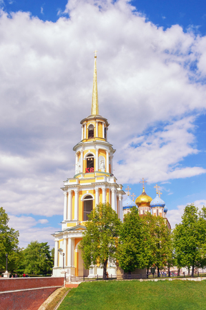 View of Bell tower of the Ryazan Kremlin on a sunny spring day. Ryazan city,  Russia