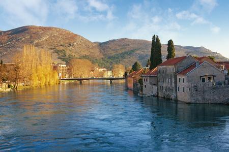 View of Trebisnjica river near Old Town of Trebinje city  on a sunny spring day. Bosnia and Herzegovina
