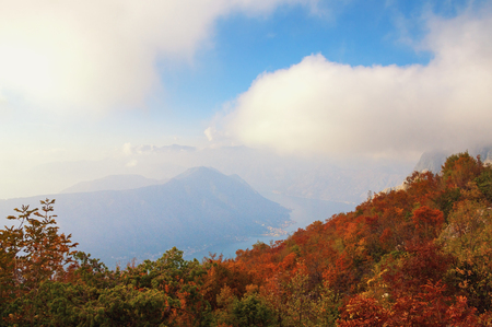 Autumn landscape with mountains and clouds. Montenegro,  Vrmac mount and Bay of Kotor 写真素材