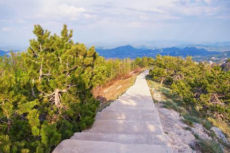 Beautiful mountain landscape with walkway.  Lovcen National Park, Montenegro 免版税图像
