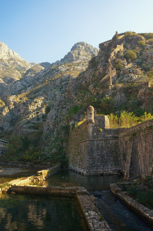 Ancient fortifications. Montenegro. Northern walls  and Riva Bastion -  fortress in Old Town of Kotor.