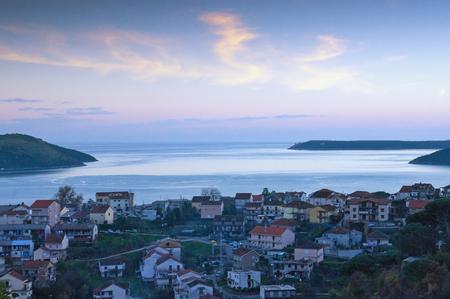 Evening winter Mediterranean landscape. Montenegro, view of  Adriatic Sea and Bay of Kotor near Herceg Novi city Imagens