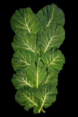 Rastan ( Collard greens, collards ) - popular leafy vegetables in Balkan cuisine - isolated on black background.  Flat lay