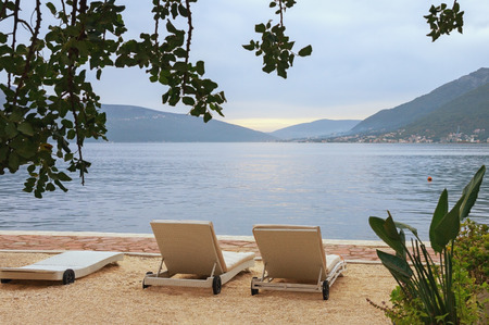 Cloudy autumn day.  Montenegro, Adriatic Sea, view of Bay of Kotor near Tivat city Stock Photo
