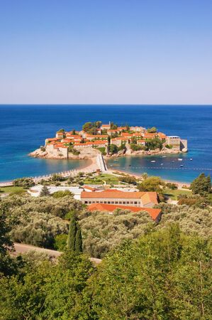 View of  Island on Adriatic coast of Montenegro on sunny summer day