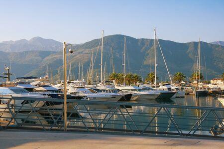 View of yacht marina of Porto Montenegro on sunny autumn day.  Montenegro, Adriatic Sea, Bay of Kotor, Tivat city