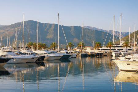 Yacht marina of Porto Montenegro on sunny autumn day.  Montenegro, Adriatic Sea, Bay of Kotor, Tivat city Stockfoto